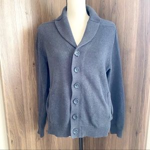 Claiborne Button Down Cardigan Cotton Dark Gray